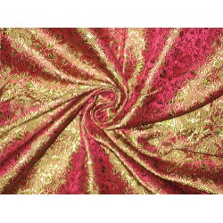 Silk Brocade fabric Pink,Green & Gold 44""