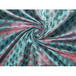 Pure Silk Brocade Fabric Turquoise Blue & Pinkish