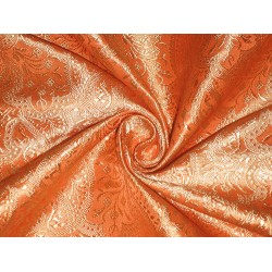 100% Pure Silk Brocade fabric Mandrin Orange & Gold 44""
