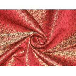 100% Pure Silk Brocade fabric Metallic Gold,Red & Black