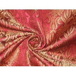 100% Pure Silk Brocade fabric Metallic Gold & Dark Pink