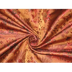 "100% Pure Silk Brocade Fabric Brown,Black & Red color 44""bro75[2]"