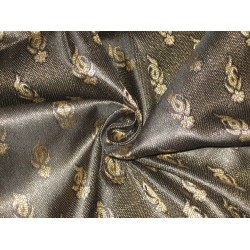 100% Pure Silk Brocade fabric Black & Metallic Gold Colour