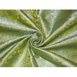 Silk Brocade fabric Lime & Blue Vestment Design 44""