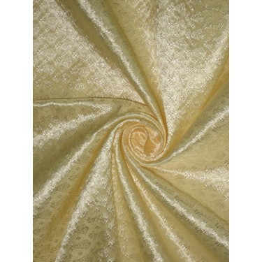Silk Brocade Fabric Golden Cream 44""