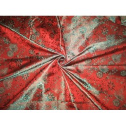 "Silk Brocade Fabric Rust & Teal 44""BRO84[2]"