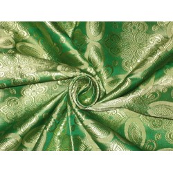 "Vestment   Silk Brocade fabric Gold & Green 44""BRO79[4]"