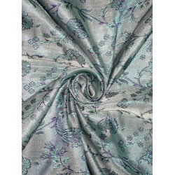 100% Pure Silk Brocade fabric Blue 44""