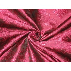 "SILK BROCADE FABRIC Pink & Black colour 44"" Vestment design BRO159[2]"