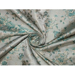 Pure Silk Brocade Fabric Sea Green,Light Gold & Grey color 44""