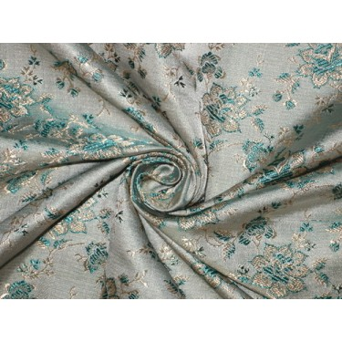 Silk Brocade Fabric Sea Green,Light Gold & Grey color 44""
