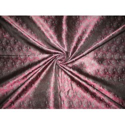 100% Pure Silk Brocade fabric Pink,Black & Blue Colour 44""