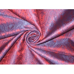 Silk Brocade fabric Rusty Red & Dark Blue Colour 44""