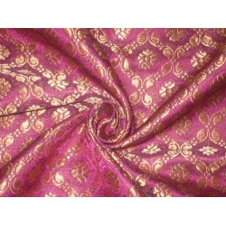 100% Pure Silk Brocade fabric Pinkish Purple & Metallic Gold Colour 44""