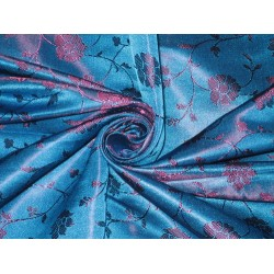 100% Pure Silk Brocade fabric Blue & Dark Purple