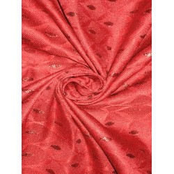 100%Pure Silk Brocade Fabric Red & Metallic 44""