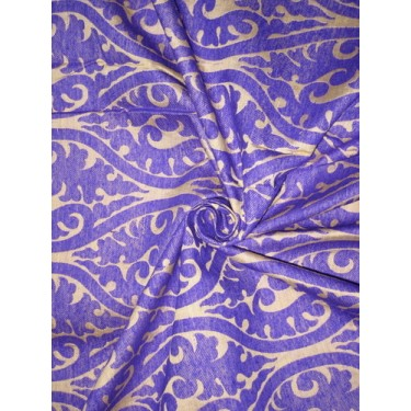 Heavy Silk Brocade Fabric Ink Blueish Purple & Light Gold color 44""