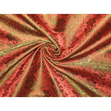 Pure Silk brocade fabric Dark Red x pink & Green colour