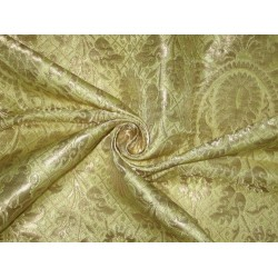 Pure Heavy Silk Brocade Fabric Metalic Gold & yellow Gold