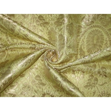 Heavy Silk Brocade Fabric Metallic Gold & yellow Gold