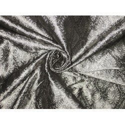 Spun Silk Brocade fabric Dark Steel Grey Grey & Silver Color