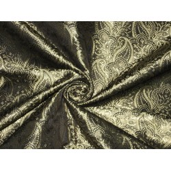 100% Pure SILK BROCADE FABRIC Gold & Black colour 44""
