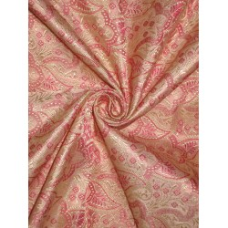 100% Pure SILK BROCADE FABRIC Gold,Pink & Baby Pink colour 44