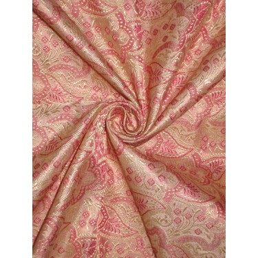 SILK BROCADE FABRIC Gold,Pink & Baby Pink colour 44