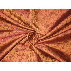 SILK BROCADE FABRIC Red,Brown & Black color