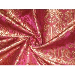"Pure SILK BROCADE FABRIC Pink & Gold colour 44"" Vestment design"