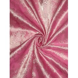 "Pure SILK BROCADE FABRIC Pink colour 44"" Vestment design"