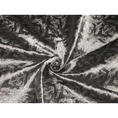 "SILK BROCADE FABRIC Dark Steel Greyish Silver colour 44"" Vestment design bro159[4]"