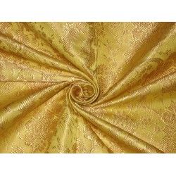 100% SILK BROCADE FABRIC Yellow colour 44""