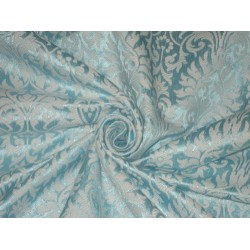 Silk Brocade fabric Baby Blue & Ivory Color 44""