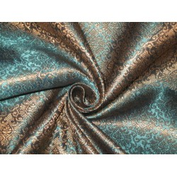 100%Pure Silk Brocade Fabric Metallic Gold & Blue 44""