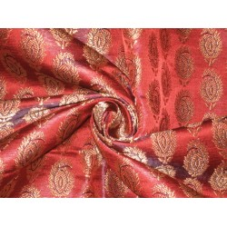 100%Pure Silk Brocade Fabric Rust with Antique Gold 44""
