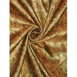 Silk Brocade fabric Golden Brown & Green color