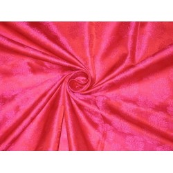 Pure Silk Brocade Fabric Iridescent Red & Pink 44""