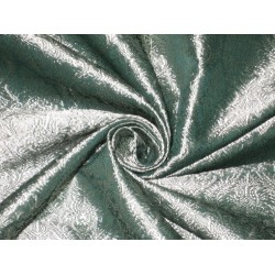 100% Pure Silk Brocade fabric Silver Teal color