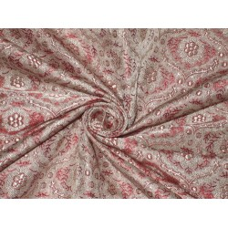 100% Pure Silk Brocade fabric Reddish Pink color