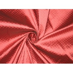 Spun Silk Brocade Fabric pinkish Red 44""
