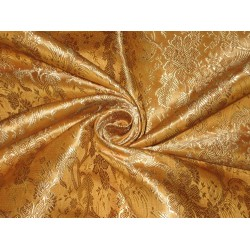SILK BROCADE FABRIC Mango Yellow,Brown & Gold colour 44""