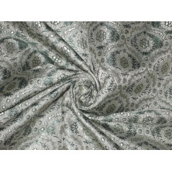 Pure SILK BROCADE FABRIC Teal & Grey colour 44""