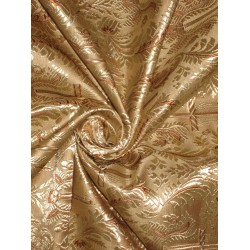 "SILK BROCADE FABRIC Gold & Brown colour 44"" Vestment design"