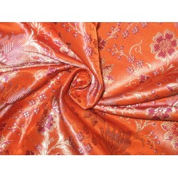 100% Pure Silk Brocade fabric Orange,Purple & Gold 44""