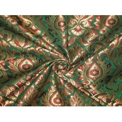 Heavy Silk Brocade Fabric Green,Red & Metallic Gold 44""