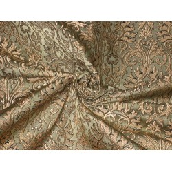 Silk Brocade Fabric Black,Olive & Metallic Gold color 44""