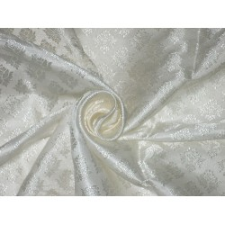 100% Pure Silk Brocade fabric Ivory 44""