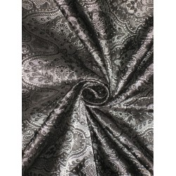 Pure Silk Brocade Fabric Pure Black Victorian Design