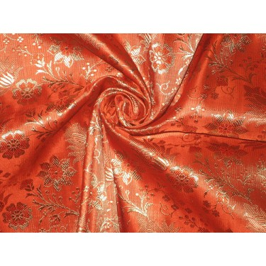 Pure Silk Brocade Fabric Orange with Gold floral